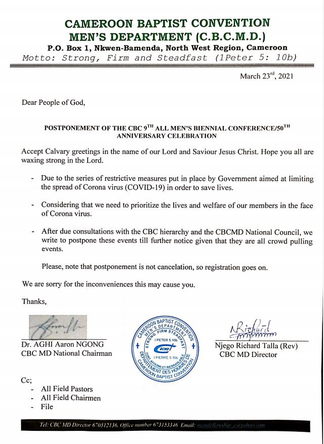 9th All Men's Biennial Conference\ 50th Anniversary Celebration Postponed