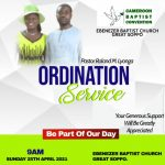Pastor Roland Lyonga to be Ordained come April 25