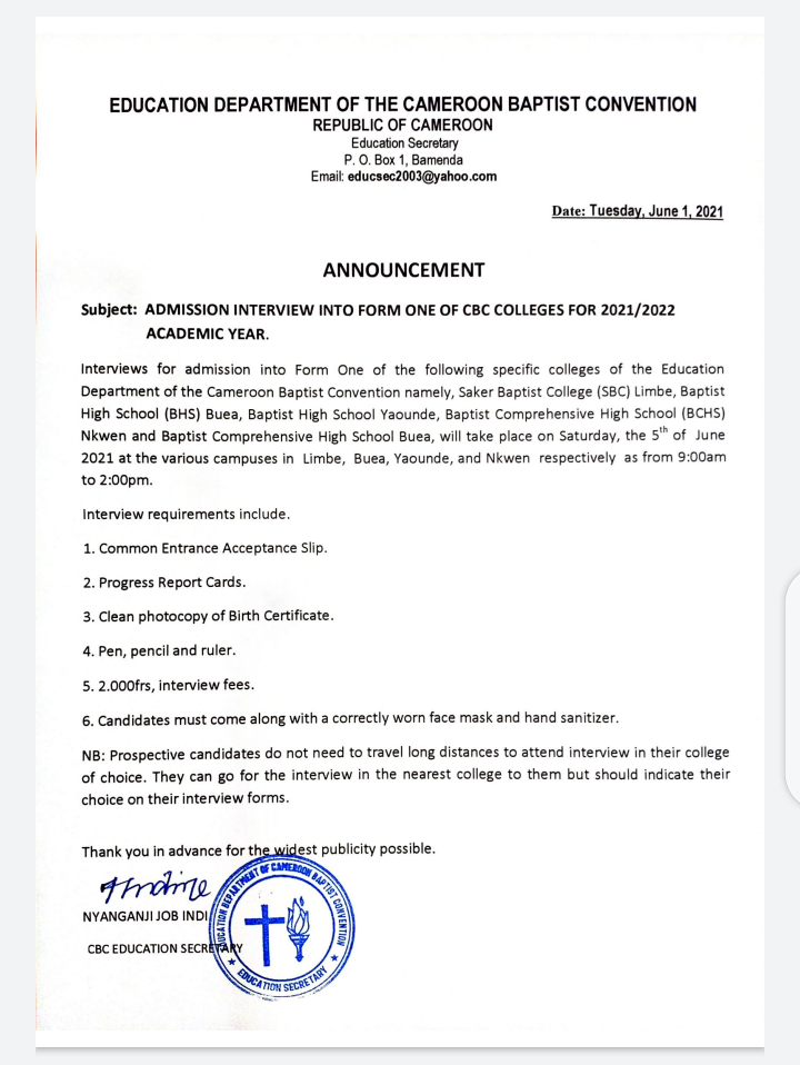 2021/2022 Admission Interview into CBC Schools Billed for June 5