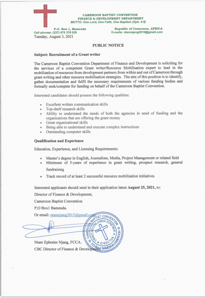 Grant Writer needed in the Finance and Development Department