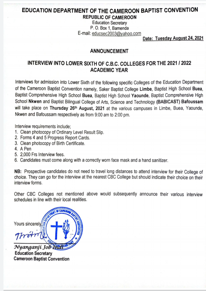 Interviews for Admission into Lower Sixth of CBC Colleges Scheduled for August 26